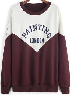 Colour-block Round Neck Letters Print Sweatshirt 20.94