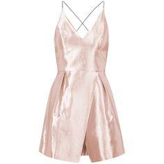 Topshop Crinkled Satin V-Neck Dress (540 ILS) ❤ liked on Polyvore featuring dresses, robe, satin dress, sleeveless dress, open back dress, pale pink cocktail dress and pink cocktail dress