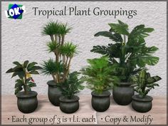 Lok's Tropical Plant Groupings - 1 land impact, 6 colors, 2 styles