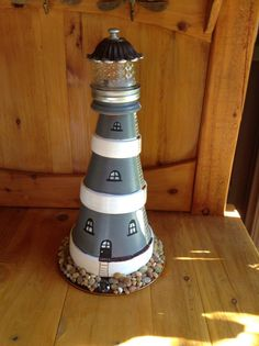 Lighthouse with flameless candle by SliverMeTimbers on Etsy
