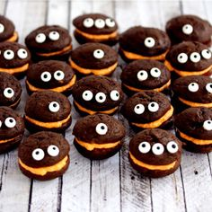 Mini Monster Chocolate Whoopie Pies with Orange Cream Filling