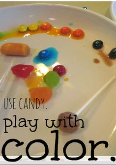 play with candy and color  --> super-fun and creative way to make learning FUN for kids (and great way to use that leftover Halloween candy!)
