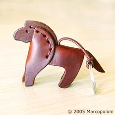 Miniature Leather Keychains: CAVALLO - Horse Italian Leather Key Chain: