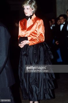 Princess Diana Wearing A Black Evening Skirt With Bustle, Orange... News Photo | Getty Images