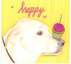 Dog ArtAnimal Art Dog Birthday Card Labrador by overthefenceart