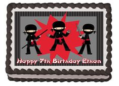 Hey, I found this really awesome Etsy listing at https://www.etsy.com/listing/216348545/ninja-themed-edible-birthday-party-cake