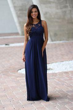 Bridesmaids Alert!!! This super elegant Navy Crochet Maxi Dress with Open Back…