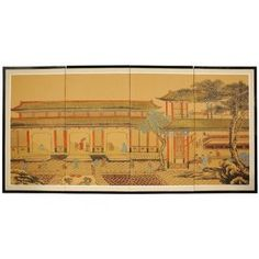 Oriental Furniture Asian Home Decor and Gifts, 36 by 72-Inch Dynasty Courtyard Chinese Brush Art Wall Screen Painting by ORIENTAL FURNITURE. $174.00. Beautiful handpainted watercolors and ink on handcrafted silk screens, sung, ming, sumi wall art. Fine silk brocade matte border, easy mount hardware, hinged for table top display. Browse our extraordinary selection of asian art and 2000+ asian home décor and unique gifts. Beautifully rendered, simple and serene, ha...
