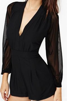 abaday   V-neck Black Chiffon Playsuit, The Latest Street Fashion