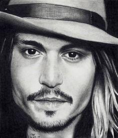 Johnny Depp, getekend portret