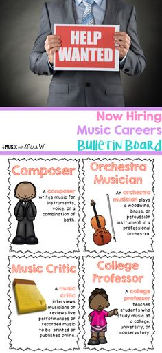 This bulletin board has 24 music careers with short descriptions. I will likely use this during Music in Our Schools Month this year! Career Bulletin Boards, Middle School Music, Music Studio Room, Teaching Music, Teaching Resources, New Music, Music Mix, Music Activities, Preschool Lessons