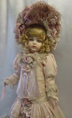 Doll Dress and Bonnet ♥ Dollightfully Yours ♥ Cheryl Imbornone Victorian Dolls, Antique Dolls, Vintage Dolls, Doll Dress Patterns, Clothing Patterns, Doll Japan, China Dolls, Doll Costume, Old Dolls