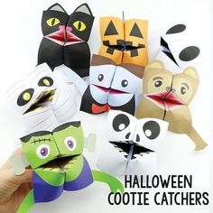 Your kids will love to play with these printable Halloween monsters cootie catchers / fortune tellers.  There are 8 different monsters / creatures in this set: zombie, vampire, jackolantern, mummy, black cat, skeleton, ghost and werewolf You will be receiving an PDF file with 8 cootie