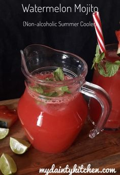 Watermelon Mojito - Non Alcoholic Summer Drink - My Dainty Kitchen This refreshing non-alcoholic watermelon mojito is made with fresh watermelon juice, drinking soda, mint leaves and lemon juice. Easy Alcoholic Drinks, Fun Drinks, Healthy Drinks, Mocktail Drinks, Summer Beverages, Juice Drinks, Drinks Alcohol, Healthy Nutrition, Yummy Drinks