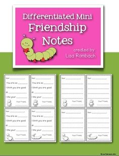 FREE Differentiated min friendship notes! I use them the week of Valentine's day during the writing center. Could be used during a friendship unit or ANY time of the year! FREE!!