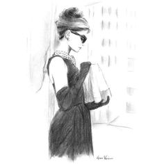Audrey Hepburn Breakfast at Tiffany's Charcoal Pencil Drawing Black... ❤ liked on Polyvore featuring home, home decor and wall art