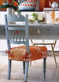 Orange Dining Chair SlipcoversChair CushionsDining ChairsSlipcover SofaDining RoomsPainted Wood ChairsCovering ChairsSewing TipsSewing Ideas