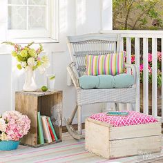 Savor+the+hard-won+patina+of+old+wooden+crates+by+converting+them+into+stylish+furnishings.+Turn+one+on+its+end+--+instant+end+table!+Or+add+a+cushioned+top+to+a+crate+to+create+a+cozy+footstool. To+fashion+the+top,+glue+two+layers+of+foam+to+a+piece+of+plywood+and+wrap+in+a+pretty+fabric,+securing+the+fabric+to+the+board+with+a+staple+gun.+Attach+wooden+stretchers+across+the+crate+opening+to+form+a+support+ledge+for+the+cushion.