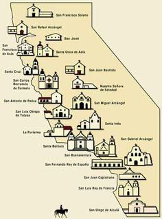 Map of California Missions Built between 1769 and 1823 Spanish