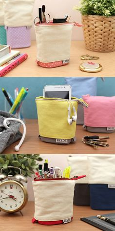 The Delde convertible pouch has plenty of carrying room and transforms into a convenient pen stand on your desk! Use it to carry pens, pencils, scissors, cosmetics, or other accessories. Choose from a variety of fun patterns and colors. You can even personalize it with pins and appliques.
