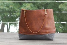 bfb134c2b Leather Tote, Large Tote, Leather Bag, Gray Waxed Canvas, Shoulder Bag,  Brass Hardware, Work Bag. FREE US SHIPPING
