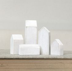 miniature houses winter white small minimalist wood town set by Lauren Gray (TheHauntedHollowTree)