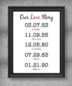 Our Love Story Special Dates Print