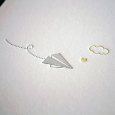 Love this sweet, simple design of the letterpress paper airplane, cloud, and heart. design is really strong. Me too (mjf) Typography Prints, Graphic Design Typography, Graphic Design Illustration, Stationary Gifts, Fine Paper, Letterpress Printing, Minimalist Design, Paper Goods, Simple Designs