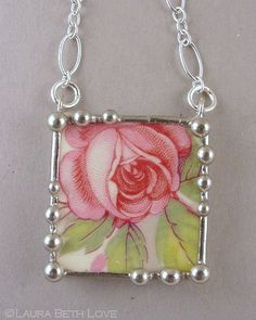 Necklace made from a broken china plate and sterling silver. Laura Beth Love, Dishfunctional Designs