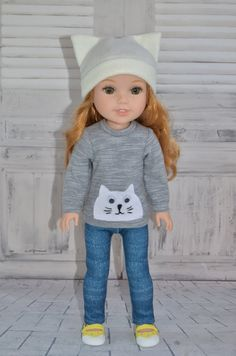 Sweater , Leggings and Hat is sized to fit Wellie Wishers dolls.   The Sweater opens/ closes in the back with velcro .   Handmade in my smoke-free workshop. All seams serged or zig zag finished to prevent fraying .   Doll and accessories are not included. This listing is for the Sweater , Leggings and Hat only.    Feel free to send an email with any questions. Thanks for looking