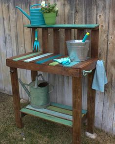 A potting bench for your garden gives you a place to store tools and supplies…