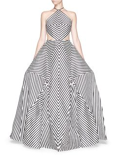 Rosie Assoulin 'La Scarpa' Cutout Stripe Organza Gown in Multicolor (Multi-colour)
