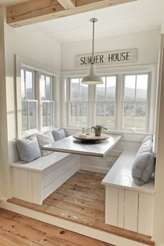 Vermont farmhouse breakfast nook. Breakfast nook ideas; eat-in kitchen ideas; kitchen seating ideas; kitchen seating area; kitchen remodel; breakfast room; bench seating