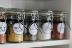 Spice Cabinet Facelift & Free Printable Labels- go to  Vintage Spice Labels #1 & #2 in blue to download each set! save as!