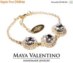 Swarovski bracelet 14K Gold Bracelet Swarovski by MayaValentino