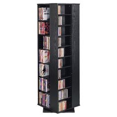 Charlton Home Marshall Multimedia Revolving Tower Color: Black / Oak Cd Storage, Media Storage, Dvd Shelves, Home Entertainment Furniture, Contemporary Living Room Furniture, Tempered Glass Door, Cabinet Styles, Antique Metal, Adjustable Shelving