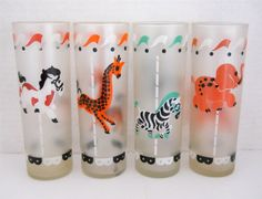 1950's Carousel Animals Frosted Glassware at T-World Design - http://etsy.me/1uQidkc