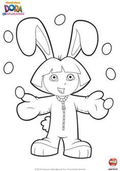 Coloriage : Dora aime bien se déguiser ! Et aujourd'hui elle est déguisée en lapin à l'occasion des fêtes de Pâques. Imprime ce coloriage de...