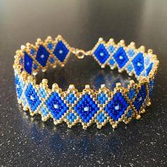 Miyuki Beads Bracelet / gold gold filled 14 k / pearls Cuff / Bracelet / poetic bracelet / bracelet gold / blue bracelet - Peyote - Beaded Cuff Bracelet, Bead Loom Bracelets, Beaded Jewelry, Bracelet Or, Diamond Bracelets, Loom Bracelet Patterns, Jewelry Patterns, Loom Patterns, Bracelets Bleus