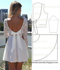 vestido de mangas con escote en la espalda