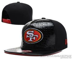 San Francisco 49ers Black Snapback Leather Hats New Era Caps Adjustable  49ers Outfit affa1c2c4bb
