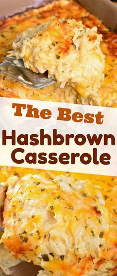 Hashbrown Casserole recipe. Wonderful comforting potato dish loaded with cheddar cheese and creamy sauce. It's easily prepared without canned soup and baked to a gooey perfection. #sidedish #potatoes #sides #casserole #hashbrowns