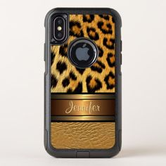 Custom Faux Leopard Skin Gold Leather Pattern OtterBox Commuter iPhone X Case - fancy gifts cool gift ideas unique special diy customize