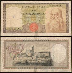 Collezione Personale di Banconote Italiane: 0.2.8. - 50000 LIRE LEONARDO