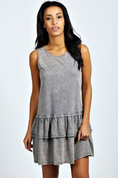 Kerrie Drop Hem Acid Wash Dress at boohoo.com