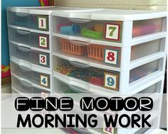 Getting Started With Fine Motor Morning Work Stations It's FREE! Make morning work meaningful by providing fine motor activities. Tons of ideas for independent and engaging activities including monthly FREEBIES. Learn how to set up, create independence Preschool Fine Motor Skills, Preschool Centers, Motor Skills Activities, Gross Motor Skills, Preschool Teachers, Sensory Activities, Sensory Rooms, Preschool Ideas, Physical Activities