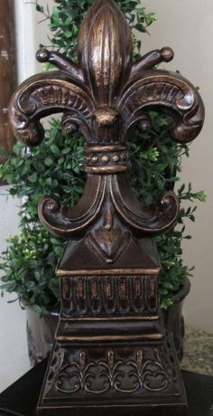 Fleur de Lis French Tuscan Bronze Finish Finial Statue New Orleans Saints decor