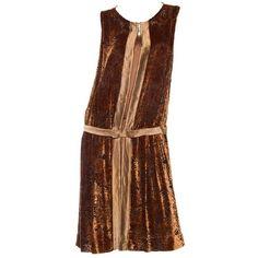 Preowned 1920s Silk Burnout Velvet Dress ($1,800) ❤ liked on Polyvore featuring dresses, brown, bow dress, 20s drop waist dress, 1920s drop waist dress, velvet dress and burnout velvet dress