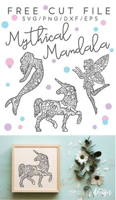 Free mythical mandala svg, png, eps & dxf by Cricut Ideas, Cricut Craft, Cricut Tutorials, Cricut Air, Plotter Silhouette Cameo, Silhouette Cameo Projects, Silhouette Files, Stencils, Unicorns And Mermaids