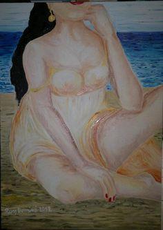 Donna e spiaggia Olio su tela 50 x 70